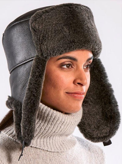 Jordan Black Russian Ushanka Shearling Hat - The Fur Store