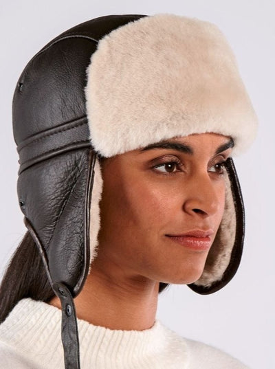 Skylar Dark Brown Shearling Biker Hat - The Fur Store