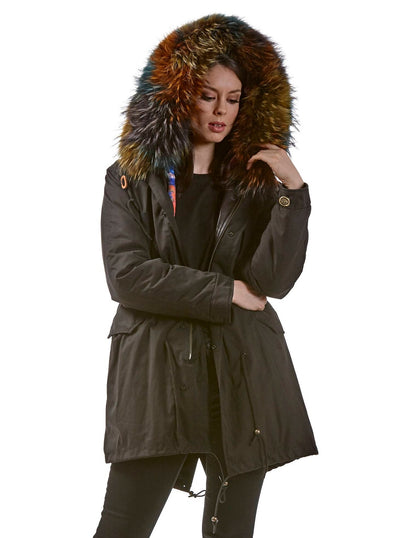 Piper Multi Colored Rabbit Lined Parka Raccoon Hood - The Fur Store