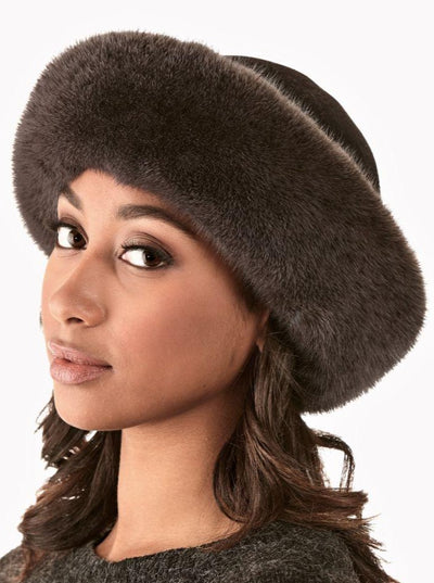 Tessa Grey Mink Velvet Top Hat - The Fur Store