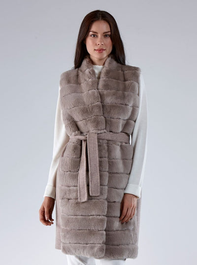 Liberty Beige Rex Rabbit Vest - The Fur Store