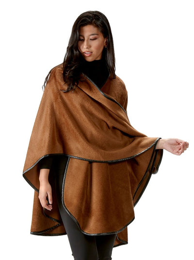 Roma Spice Alpaca with Leather Trim Cape - The Fur Store