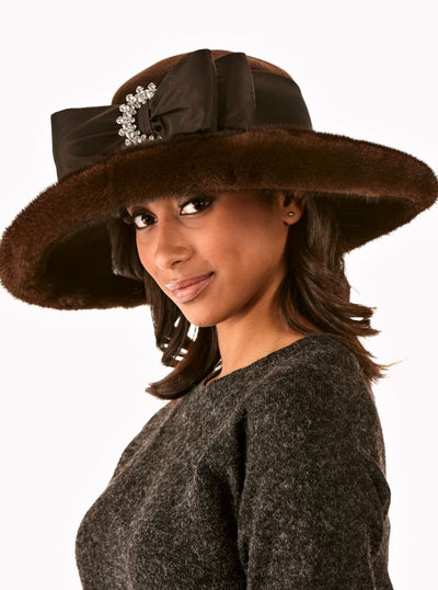 Dani Brown Mink Brim Hat - The Fur Store