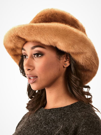 Cora Women's Whiskey Mink Hat - The Fur Store