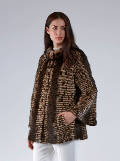Dorothy Spotted Brown Mink Jacket - The Fur Store