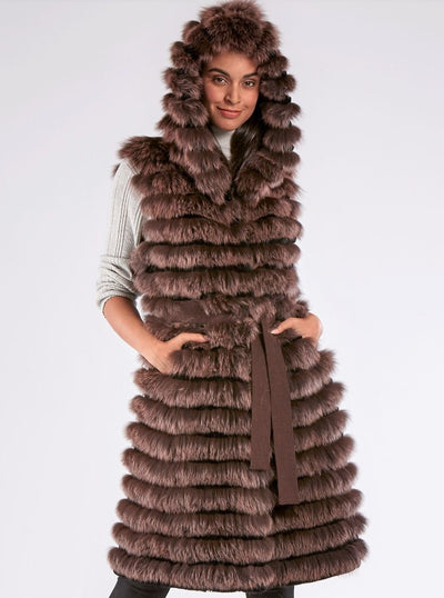 Esther Brown Fox Vest with Hood - The Fur Store