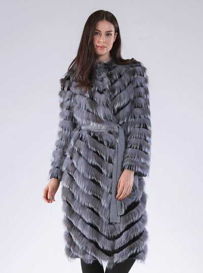 Georgiana Natural Silver Fox Vest with Hood - The Fur Store