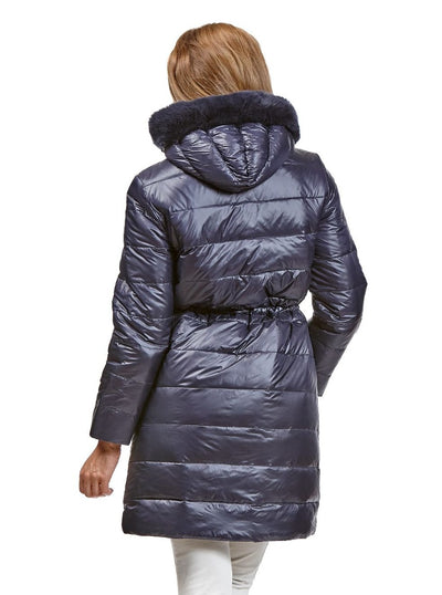 Talia Navy Reversible Rex Rabbit Jacket with Hood - The Fur Store
