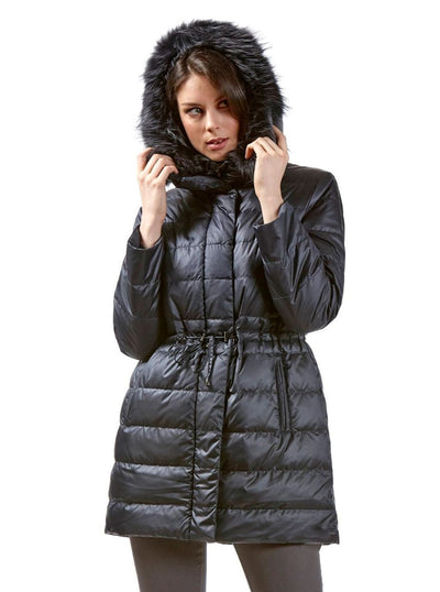 Tia Navy Reversible Rex Rabbit Jacket with Fox Hood - The Fur Store