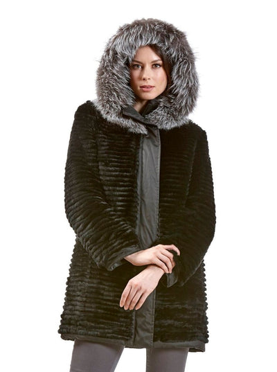 Tia Black Reversible Rex Rabbit Jacket with Fox Hood - The Fur Store