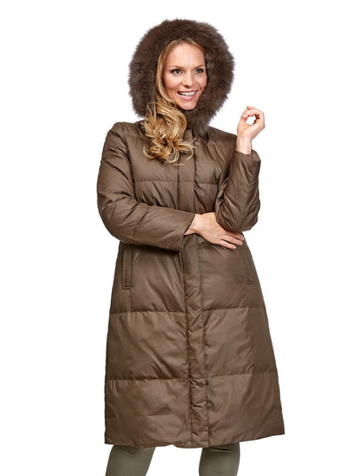 Ada Brown Reversible Rex Rabbit Coat with Fox Hood - The Fur Store
