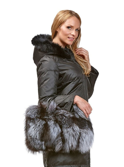 Ada Black Reversible Rex Rabbit Coat with Fox Hood - The Fur Store