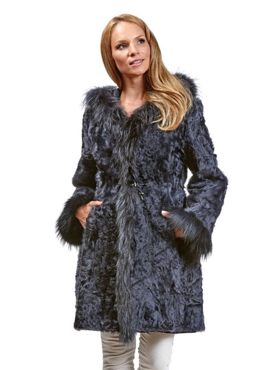 Theresa Navy Reversible Lamb Jacket with Fox Hood - The Fur Store