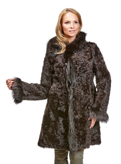 Theresa Brown Reversible Lamb Jacket with Fox Hood - The Fur Store