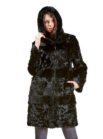Sonia Black Reversible Lamb Jacket with Rex Rabbit Hood - The Fur Store