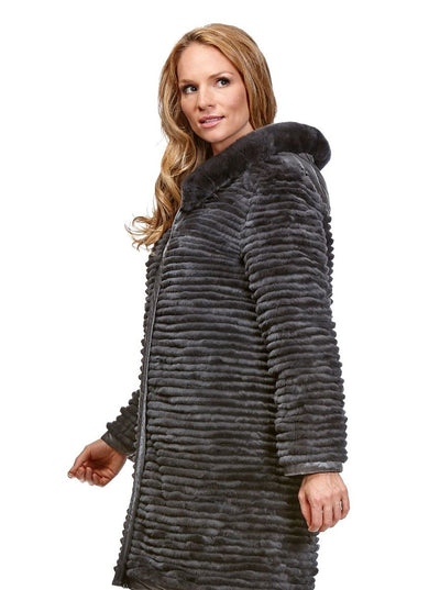 Talia Grey Reversible Rex Rabbit Jacket with Hood - The Fur Store