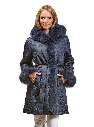 Tina Navy Reversible Fox Jacket with Hood - The Fur Store