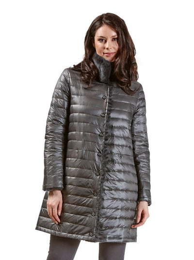Rita Grey Reversible Rex Rabbit Jacket - The Fur Store