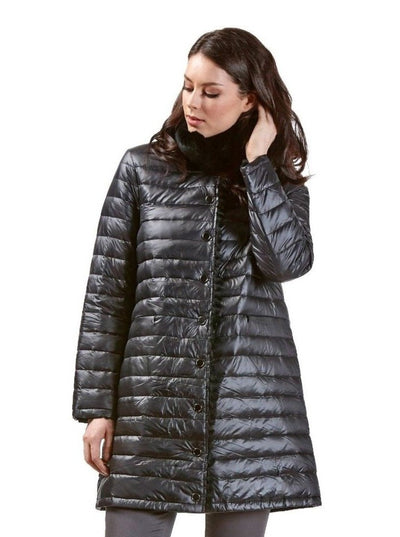 Rita Black Reversible Rex Rabbit Jacket - The Fur Store