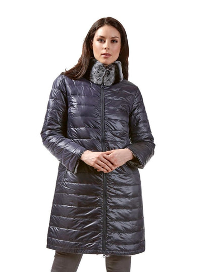 Kara Navy Reversible Rex Rabbit Jacket - The Fur Store