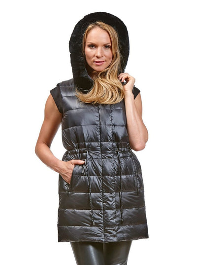 Lana Black Reversible Puffer Rex Rabbit Vest Hood - The Fur Store