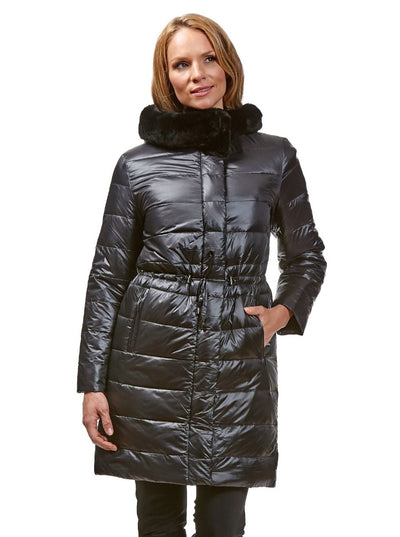 Talia Black Reversible Rex Rabbit Jacket with Hood - The Fur Store