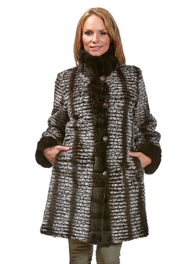 Shelby Brown Frost Reversible Rex Rabbit Jacket - The Fur Store