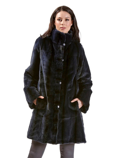 Bianca Navy Reversible Sheared Mink Jacket - The Fur Store