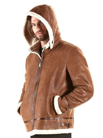 Jeremy Cognac Aviator Shearling Jacket with Hood - The Fur Store