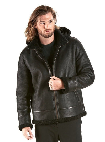 Jeremy Black Aviator Shearling Jacket with Hood - The Fur Store