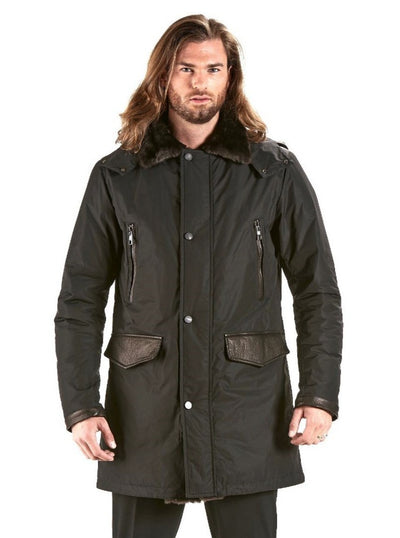 Caleb Men's Black Down Parka with Shearling Trim - The Fur Store