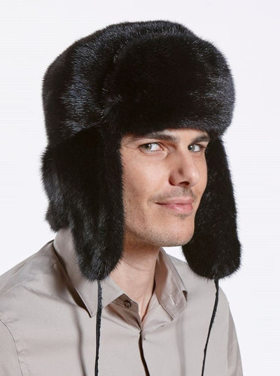 Avery Men's Black Mink Trapper Hat - The Fur Store
