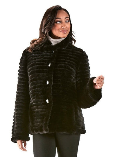 Candice Black Knitted Mink Jacket - The Fur Store