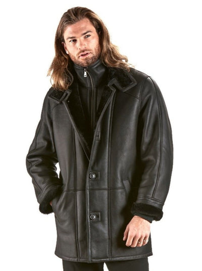 Willy Men's Black Lamb Shearling Jacket - The Fur Store
