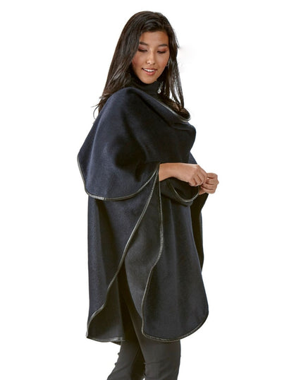 Roma Navy Alpaca with Leather Trim Cape - The Fur Store