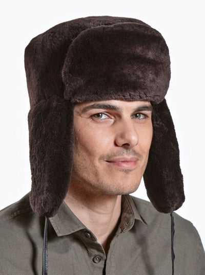 Avery Men's Brown Sheared Beaver Trapper Hat - The Fur Store