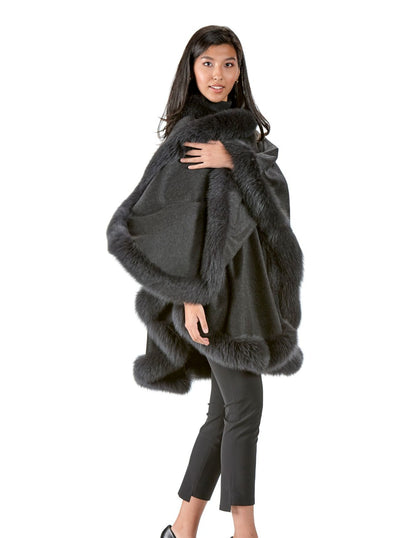 Grace Charcoal 100% Cashmere with Grey Fox Trim Cape - The Fur Store
