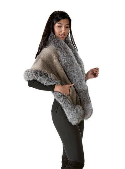 Daisy Grey Mink Cape with Silver Fox Trim - The Fur Store