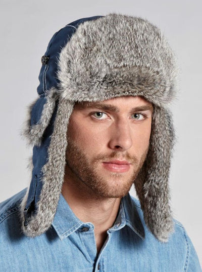 Jonathan Men's Blue Rabbit Trapper Hat - The Fur Store