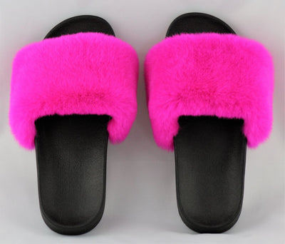 Charlize Hot Pink Rex Rabbit Slide Sandals - The Fur Store