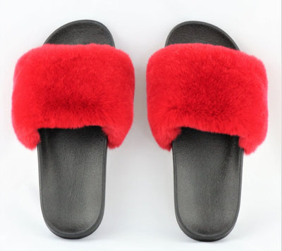 Charlize Red Rex Rabbit Slide Sandals - The Fur Store