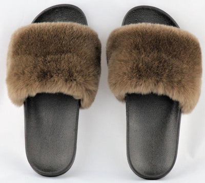 Charlize Brown Rex Rabbit Slide Sandals - The Fur Store
