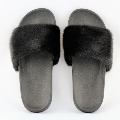 Dixie Black Mink Fur Slide Sandals - The Fur Store