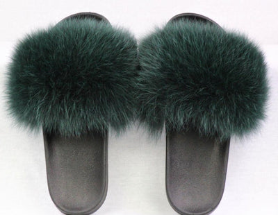 Haven Green Fox Fur Slide Sandals - The Fur Store