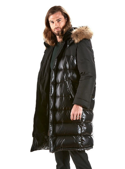Jackson Black Puffer Coat with Raccoon Trim Hood - The Fur Store