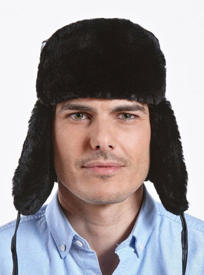 Jesse Men's Sheared Beaver with Leather Trapper Hat - The Fur Store