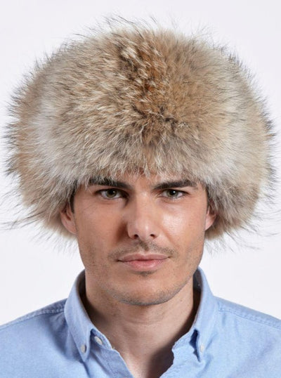 Jesse Men's Coyote with Leather Trapper Hat - The Fur Store