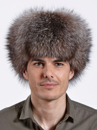 Cameron Men's Crystal Fox with Leather Trapper Hat - The Fur Store