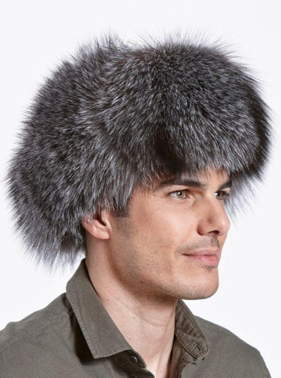Cameron Indigo Fox with Leather Trapper Hat - The Fur Store