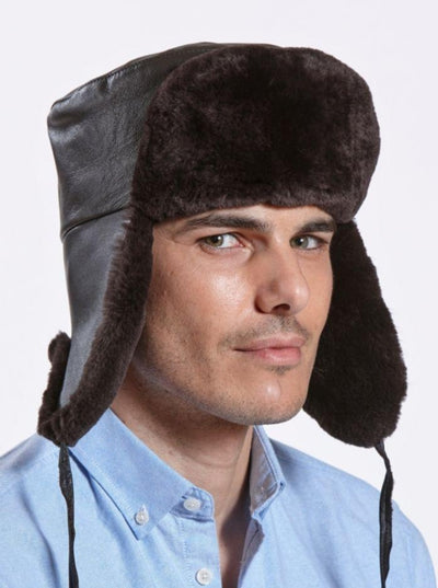 Jesse Brown Sheared Beaver with Leather Hat - The Fur Store